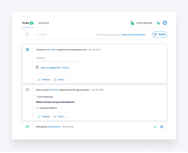 Keeping up with client's progress in TaxDome helps you complete your client onboarding faster