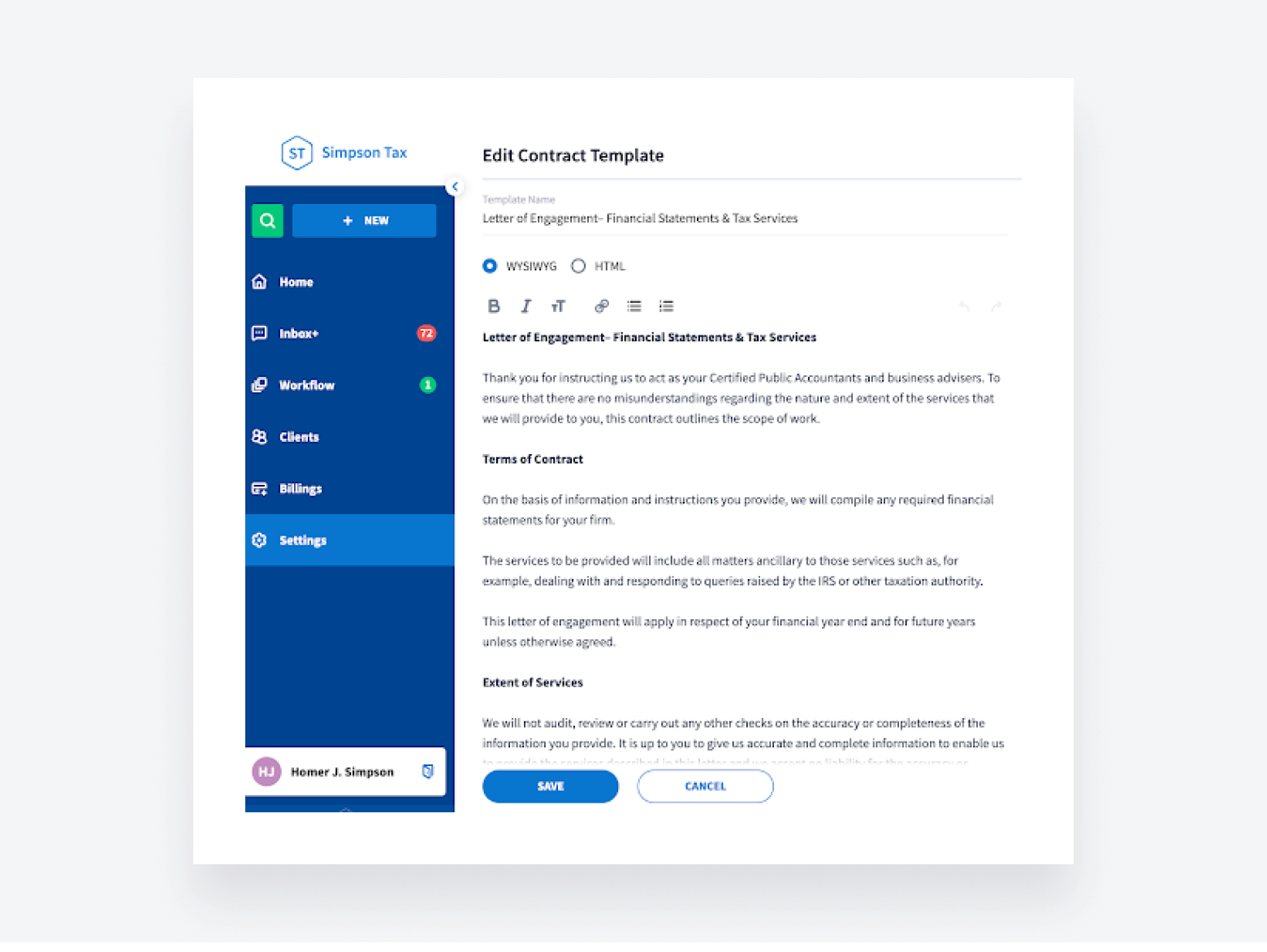TaxDome offers accounting engagement letter templates