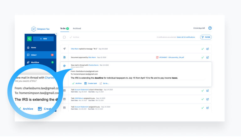 Moving to the cloud helps you react to changes quickly. TaxDome Inbox+ helps you reduce email clutter.