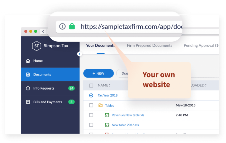 TaxDome's client portal software for accountants